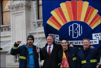 Matt Wrack with firefighters at their rally and lobby MPs against cuts, photo Suzanne Beishon