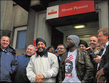 Postal workers on strike in June 2007, photo Paul Mattsson