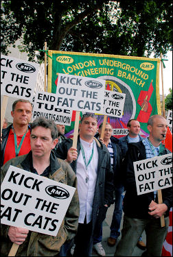 RMT protest against the fat-cats, photo Paul Mattsson
