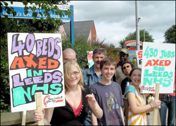 A protest in Leeds against Health cuts