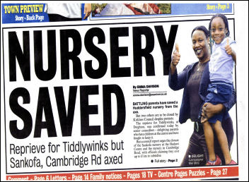 Huddersfield Examiner reports on the saving of Tiddlywinks nursery.