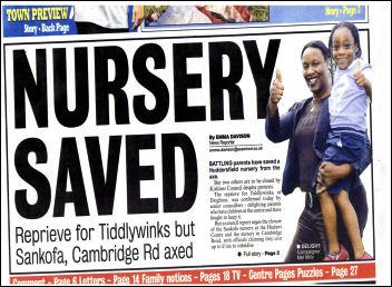 Huddersfield Examiner reports on the saving of Tiddlywinks nursery.