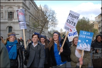 University, college and school students protest in central London against higher tuition fees and education cuts, photo Suzanne Beishon