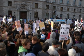 University, college and school students kettled in central London against higher tuition fees and education cuts , photo Suzanne Beishon