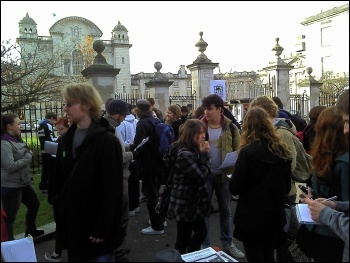 Over 300 students take over the main building of Cardiff university in protest at fees hike, photo Edmund Schluessel