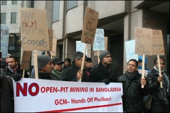 Protesters demand halt to opencast coal mining in Bangladesh outside mining company Global Coal Management Resources Ltd annual general meeting , photo M Thain