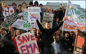 November 24th student demonstrations against tuition fees rises and the abolition of the EMA, photo Senan