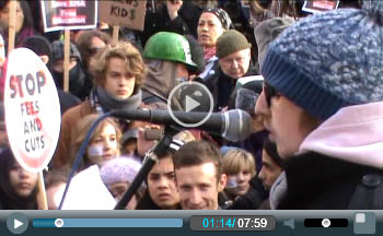 Ian Pattison addresses 9 December Day X student demo against fee rises