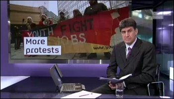 Wholesale destruction of jobs in the public and private sector:  Youth Fight for Jobs protest featured on Channel 4 news