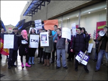 demonstration in Halifax organised by Socialist Party members, involving around 30 students from Calderdale College, and the grammar schools Crossley Heath and North Halifax, photo by Halifax Socialist Party
