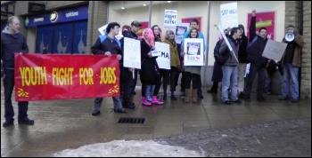 demonstration in Halifax organised by Socialist Party members, involving around 30 students from Calderdale College, and the grammar schools Crossley Heath and North Halifax., photo by Halifax Socialist Party