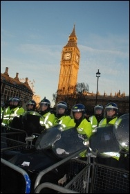 Brutal policing faced the students protest outside parliament on Day X as tuition fees debated, photo Suzanne Beishon