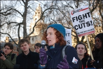 Hannah Sell, Socialist Party deputy general secretary, addressing sStudents protest outside parliament on Day X as tuition fees debated, photo Suzanne Beishon