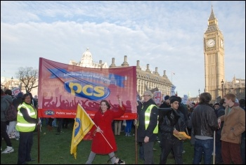 Students, joined by trade unionists, protest outside parliament on Day X as tuition fees debated, photo Suzanne Beishon