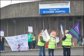 Medirest strikers at Wycombe Hospital