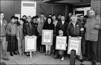 John Macreadie on picket line with Terry Fields MP (far left)