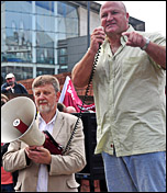 Bob Crow, Railway workers union general secretary, RMT, addresses NSSN lobby of TUC, photo Suleman Civi