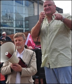 Bob Crow, Railway workers union general secretary, RMT and Dave Nellist at NSSN lobby of  2010 TUC congress in Manchester, photo Suleyman Civi