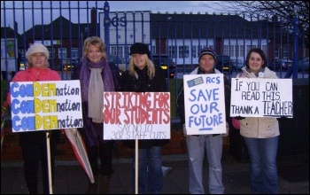 NUT strike against the loss of a third of teaching and support staff at Rawmarsh Community School, Rotherham, photo by Alastair Tice