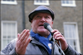 Bob Crow, RMT general secretary, speaking at the London anti-cuts demonstration jointly called by the NSSN, RMT, NUT, FBU, PCS and other unions, photo Paul Mattsson