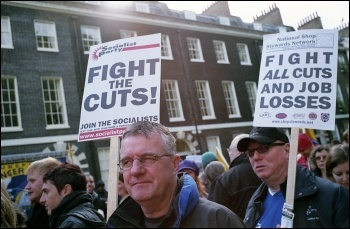 London anti-cuts demonstration jointly called by the NSSN, RMT, NUT, FBU, PCS and other unions, photo Paul Mattsson
