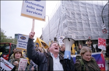 PCS members on the London anti-cuts demonstration jointly called by the NSSN, RMT, NUT, FBU, PCS and other unions, photo Paul Mattsson