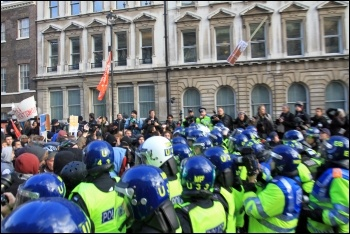 Police on student demonstration - hundreds of protesters have been injured by police violence, photo Senan