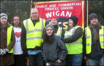 Department for Work and Pensions (DWP) civil servants in the PCS union take strike action at the Makerfield site near Wigan to provide a decent service to claimants