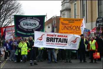 Demonstration in Southampton by Unite and Unison against Tory attacks on terms and conditions and cuts in public services. Around 1000 workers took part, photo David Smith