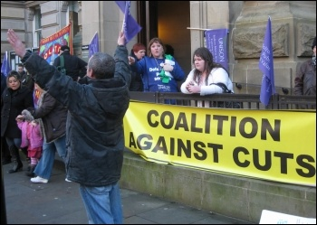 Unison members working for Bolton council lobbied the council executive on Monday 24 January, against proposed cuts, photo Hugh Caffrey