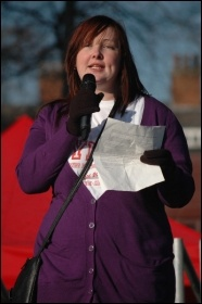 Jane Warburton, regional youth leader of the PCS union, speaking to the Manchester demonstration against youth unemployment and in support of the students' struggle against fee rises and cuts, photo by Dave Beale