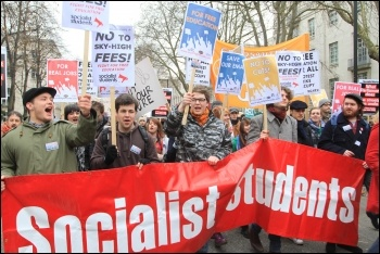 Young people march for a future: Youth Fight for Jobs and Socialist Students on the 29 January London demonstration against education cuts, photo Senan