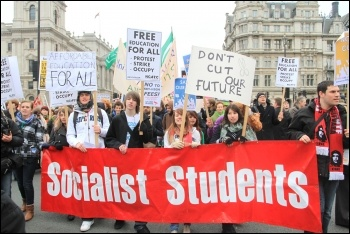 Young people march for a future: Youth Fight for Jobs and Socialist Students on the 29 January 2011 London demonstration against education cuts, photo Senan