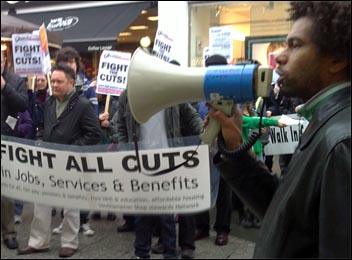Hugo Pierre speaks to the Southampton protest, Photo Southampton SP