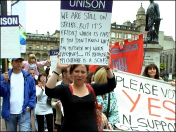 Unison Social care workers on strike in Scotland, photo Duncan Brown