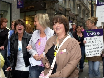 Social care workers on strike in Scotland, photo Duncan Brown