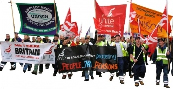Demonstration in Southampton by Unite and Unison against Tory attacks on terms and conditions and cuts in public services, photo David Smith