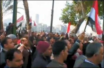 Celebrations in Egypt at the fall of Murabak, screen shot from Al Jazeera