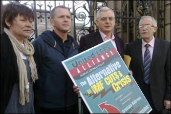 Socialist Party leader Joe Higgins with United Left Alliance candidates at the launch of Ireland's left coalition election campaign, photo Socialist Party Ireland