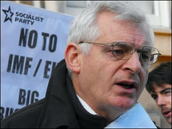 17 MEPs and Irish Socialist Party leader Joe Higgins outside the department of finance in dublin, photo Socialist Party Ireland