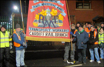 South Wales RMT signal workers on strike, pic Socialist Party Wales