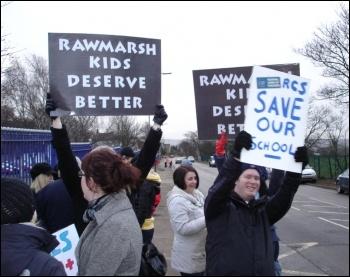 Rawmarsh Community School NUT teachers in Rotherham took nine days of strike action against cuts and redundancies, winning a repreive, photo Chris Borman