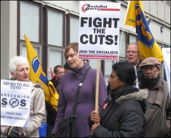 200 trade unionists, community campaigners and service users marched in Greenwich borough, south London, against the local council's brutal cuts package, photo Lorraine Dardis