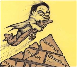 Egyptian dictator Hosni Mubarak flees. Cartoon by Suz