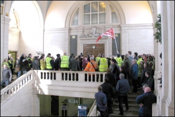 Council workers stormed into the public gallery at Southampton City Council's budget meeting