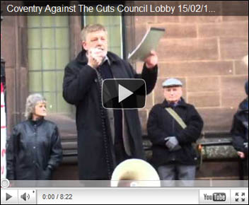 Socialist Party councillor Dave Nellist addresses anti-cuts lobby of Coventry council