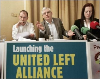 Joe Higgins and Clare Daly at the lauch of the United Left, photo by Socialist Party Ireland
