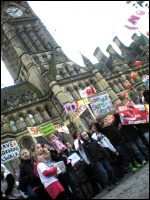 Sure Start protest in Manchester, photo Hugh Caffrey