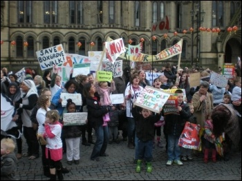 Protest against closure of Sure Start centres across Manchester, photo Manchester Socialist Party