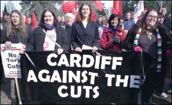 Thousands of workers, students and anti-cuts campaigners marched through Cardiff on Saturday 5 March to tell visiting Con Dems we don't accept your cuts, photo Paul Mattsson